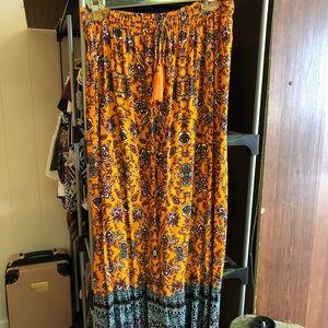 Orange and Navy Boho Maxi Skirt
